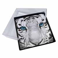 4x Siberian White Tiger Picture Table Coasters Set in Gift Box
