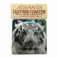 Siberian White Tiger Single Leather Photo Coaster Perfect Gift