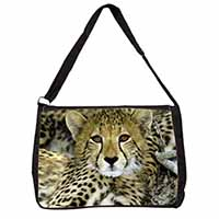 Baby Cheetah Large Black Laptop Shoulder Bag School/College