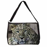 Leopard Large Black Laptop Shoulder Bag School/College