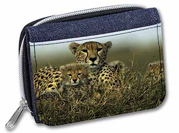 Cheetah and Cubs Girls/Ladies Denim Purse Wallet Birthday Gift Idea