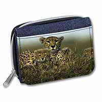 Cheetah and Cubs Girls/Ladies Denim Purse Wallet Christmas Gift Idea