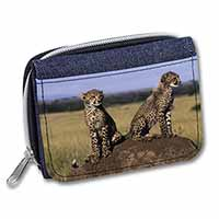 Cheetahs on Watch Girls/Ladies Denim Purse Wallet Birthday Gift Idea