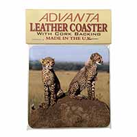 Cheetahs on Watch Single Leather Photo Coaster Perfect Gift