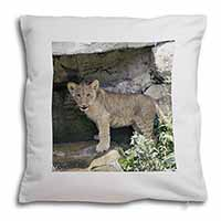 Lion Cub Soft Velvet Feel Cushion Cover With Pillow Inner