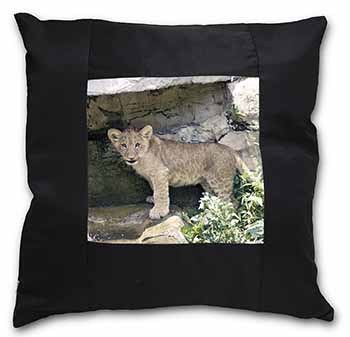 Lion Cub Black Border Satin Feel Scatter Cushion