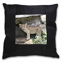 Lion Cub Black Border Satin Feel Cushion Cover+Pillow Insert