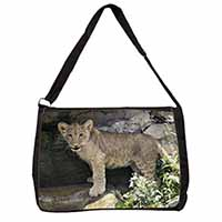 Lion Cub Large Black Laptop Shoulder Bag School/College