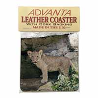 Lion Cub Single Leather Photo Coaster Perfect Gift