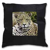 Leopard Black Border Satin Feel Cushion Cover With Pillow Insert