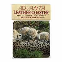 Cheetah and Newborn Babies Single Leather Photo Coaster Perfect Gift