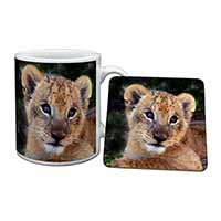 Cute Lion Cub Mug+Coaster Birthday Gift Idea