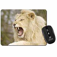 Roaring White Lion Computer Mouse Mat Birthday Gift Idea