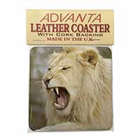 Roaring White Lion Single Leather Photo Coaster Perfect Gift