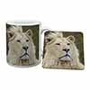 White Lion Mug+Coaster Christmas/Birthday Gift Idea