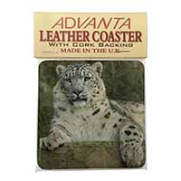Beautiful Snow Leopard Single Leather Photo Coaster Perfect Gift