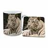 White Tiger Mug+Coaster Christmas/Birthday Gift Idea