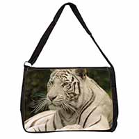 White Tiger Large Black Laptop Shoulder Bag School/College
