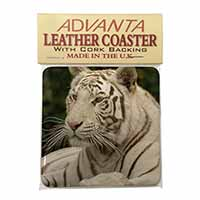 White Tiger Single Leather Photo Coaster Animal Breed Gift