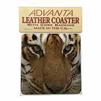 Face of a Bengal Tiger Single Leather Photo Coaster Perfect Gift