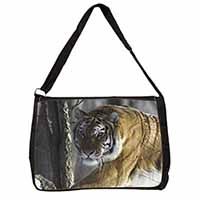 Tiger in Snow Large Black Laptop Shoulder Bag School/College