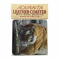 Tiger in Snow Single Leather Photo Coaster Perfect Gift