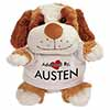 Adopted By AUSTEN Cuddly Dog Teddy Bear Wearing a Printed Named T-Shirt