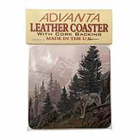 Mountain Wolf Single Leather Photo Coaster Perfect Gift