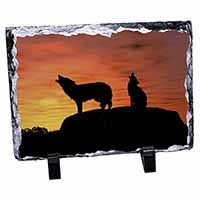 Sunset Wolves Photo Slate Photo Ornament Gift