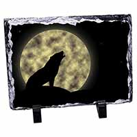 Howling Wolf and Moon Photo Slate Christmas Gift Ornament