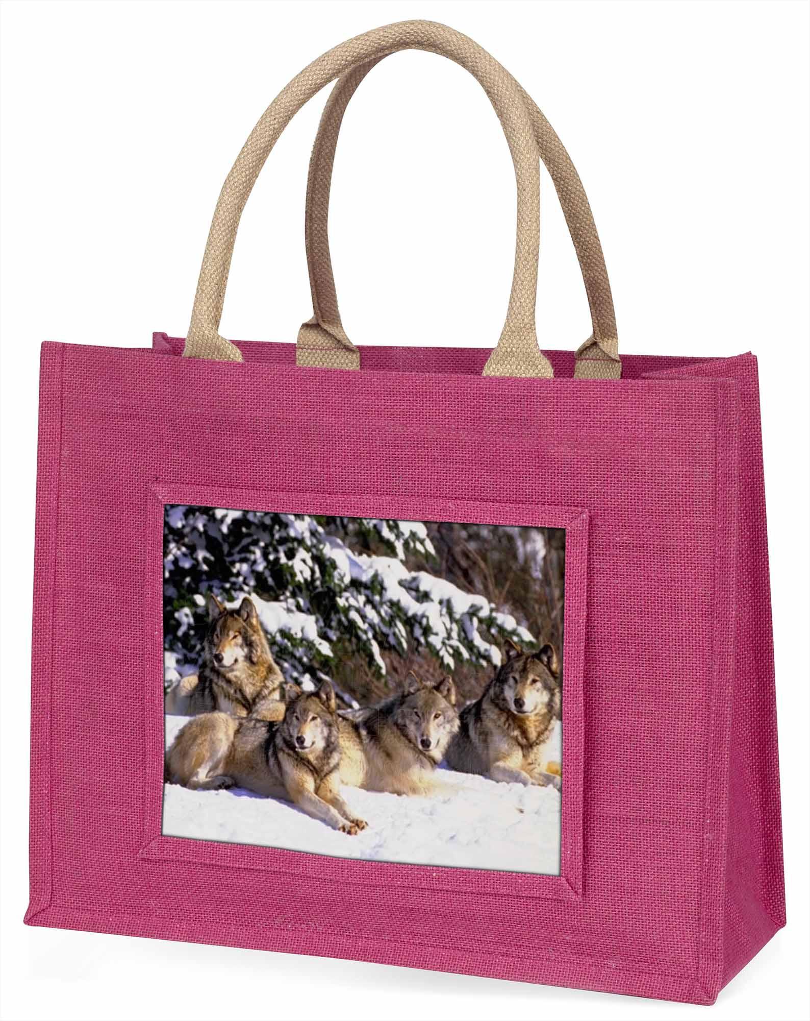 Wölfe im Schnee große rosa Einkaufstasche Weihnachten Geschenkidee, aw-8blp