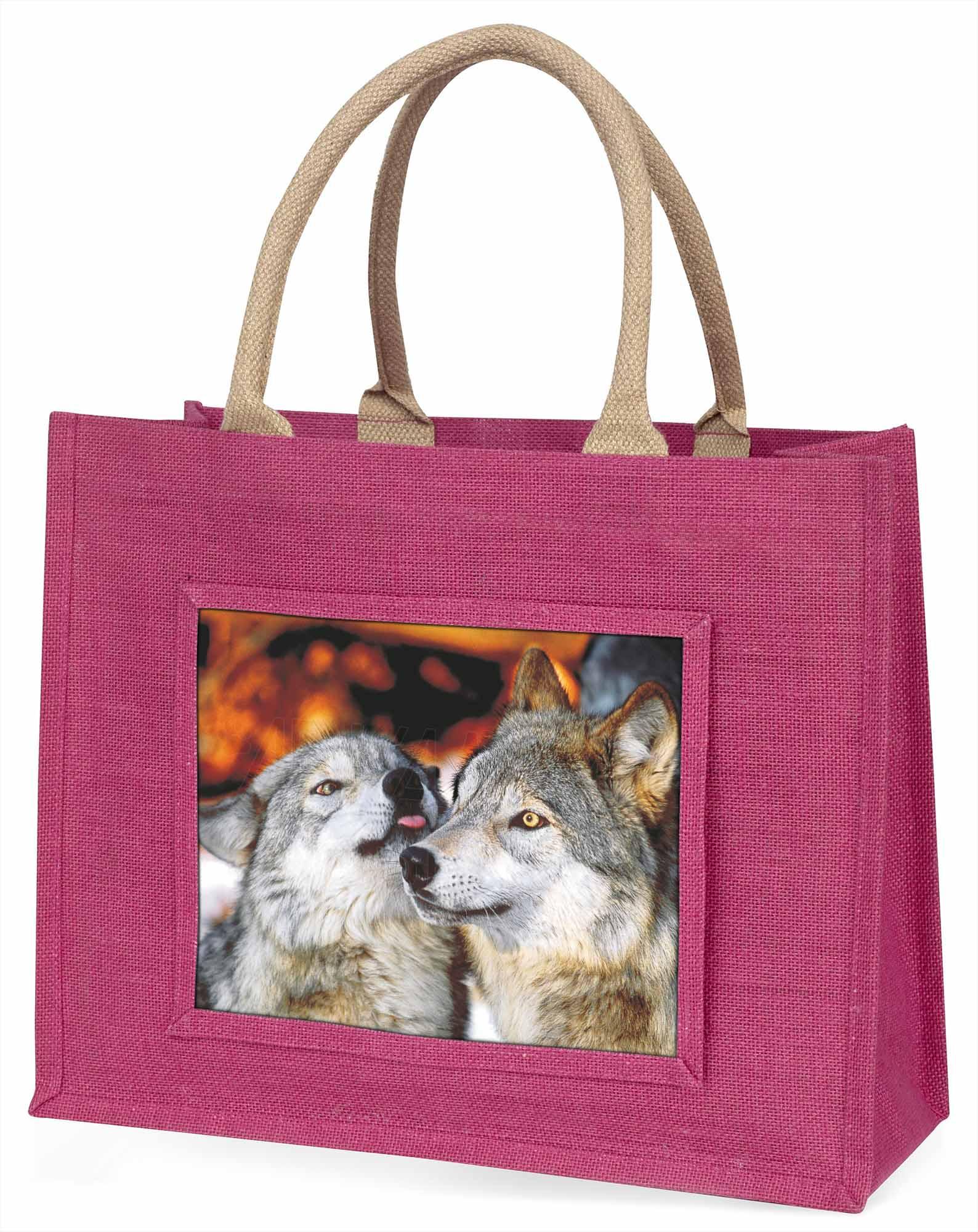 Verliebte Wölfe große rosa Einkaufstasche Weihnachten Geschenkidee, aw-9blp