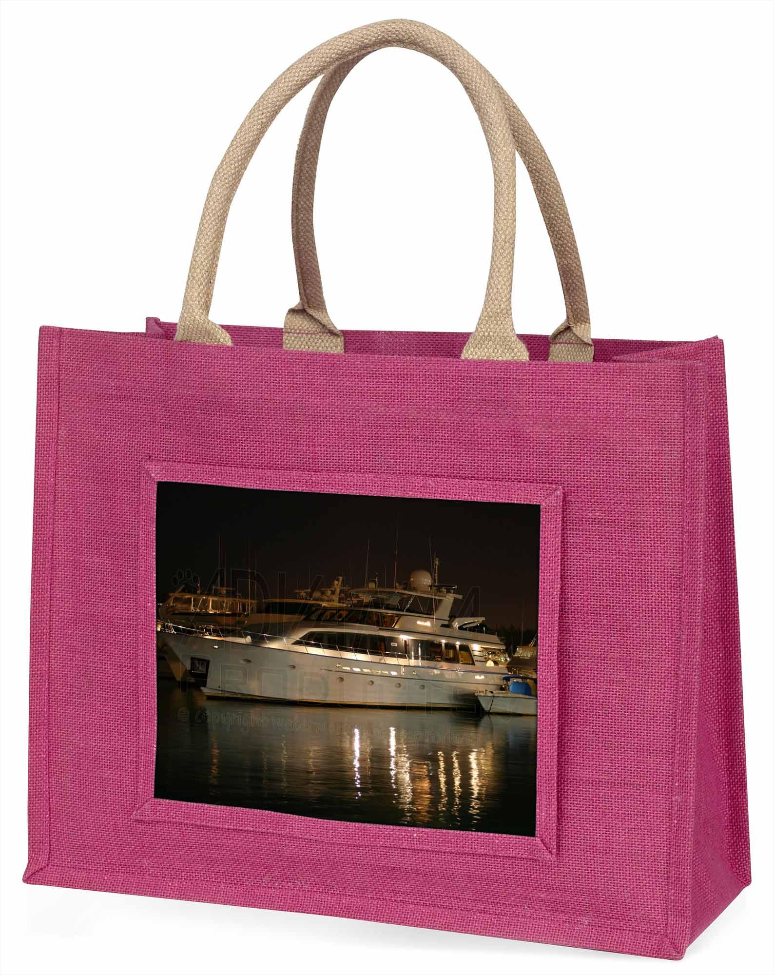 Yacht im Hafen große rosa Einkaufstasche Weihnachten Geschenkidee, boa-1blp