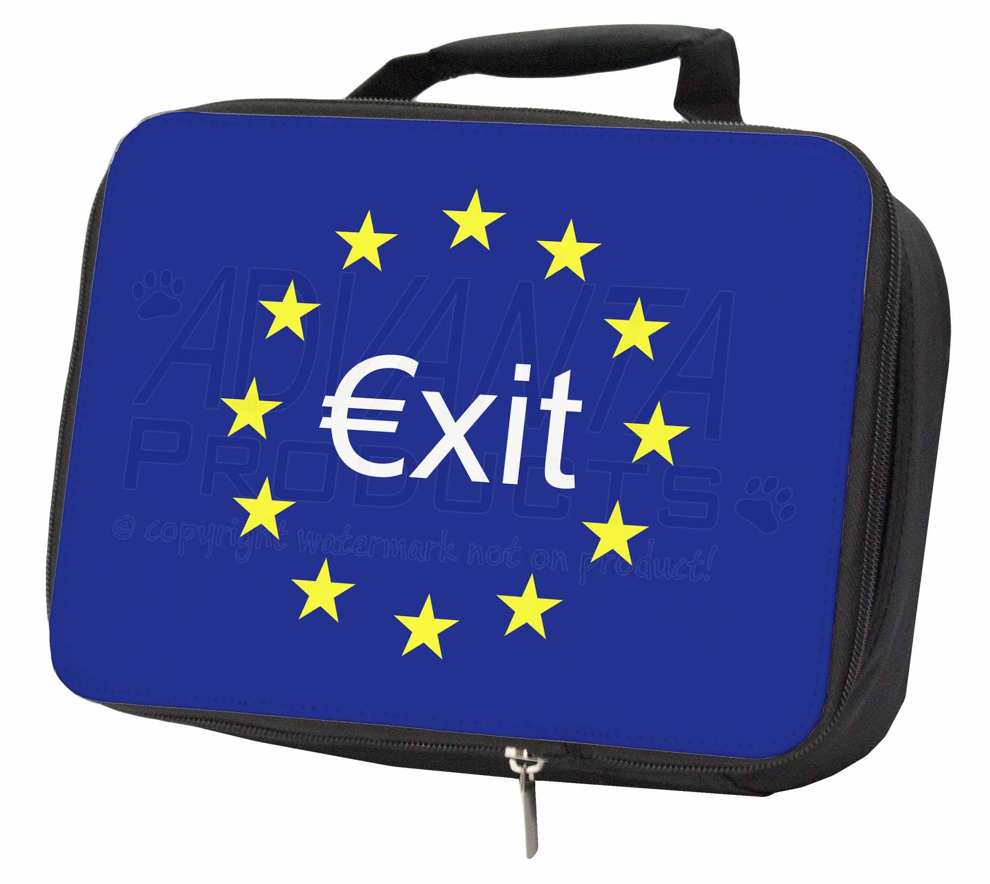 British Brexit, Euro 'exit' Black Insulated School Lunch Box Bag, British-2lbb