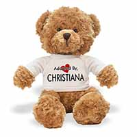 Adopted By CHRISTIANA Teddy Bear Wearing a Personalised Name T-Shirt