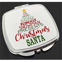 Christmas Word Tree Make-Up Compact Mirror Birthday Gift Idea