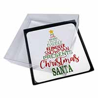 4x Christmas Word Tree Picture Table Coasters Set in Gift Box