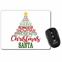 Christmas Word Tree Computer Mouse Mat Birthday Gift Idea