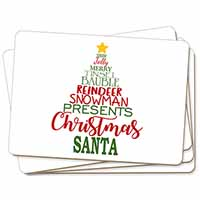Christmas Word Tree Picture Placemats in Gift Box