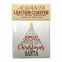 Christmas Word Tree Single Leather Photo Coaster Perfect Gift
