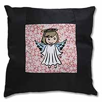 Christmas Angel Black Border Satin Feel Scatter Cushion