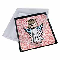 4x Christmas Angel Picture Table Coasters Set in Gift Box