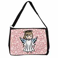 Christmas Angel Large Black Laptop Shoulder Bag School/College