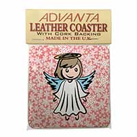 Christmas Angel Single Leather Photo Coaster Perfect Gift
