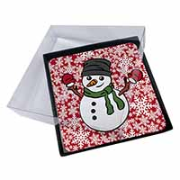 4x Christmas Snow Man Picture Table Coasters Set in Gift Box