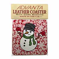 Christmas Snow Man Single Leather Photo Coaster Perfect Gift