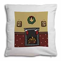 Christmas Fire Place Soft Velvet Feel Cushion Cover With Pillow Inner
