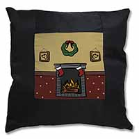 Christmas Fire Place Black Border Satin Feel Cushion Cover+Pillow Insert