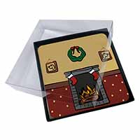 4x Christmas Fire Place Picture Table Coasters Set in Gift Box