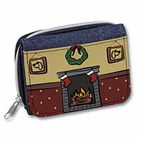 Christmas Fire Place Girls/Ladies Denim Purse Wallet Birthday Gift Idea